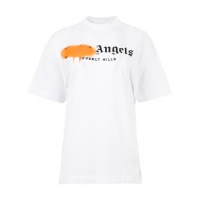 Palm Angels Womens Beverly Hills Sprayed Tee White Free Shipping PWAA039S21JER005